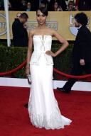 Her Rodarte gown was sleek from the front at the SAG Awards...