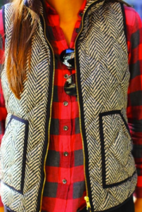 Patterned vest with a flannel