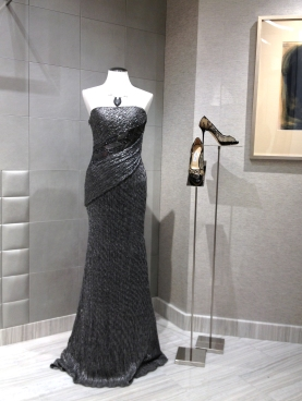 This metallic dress was modeled in the dressing room entryway...yes, it has an entryway.
